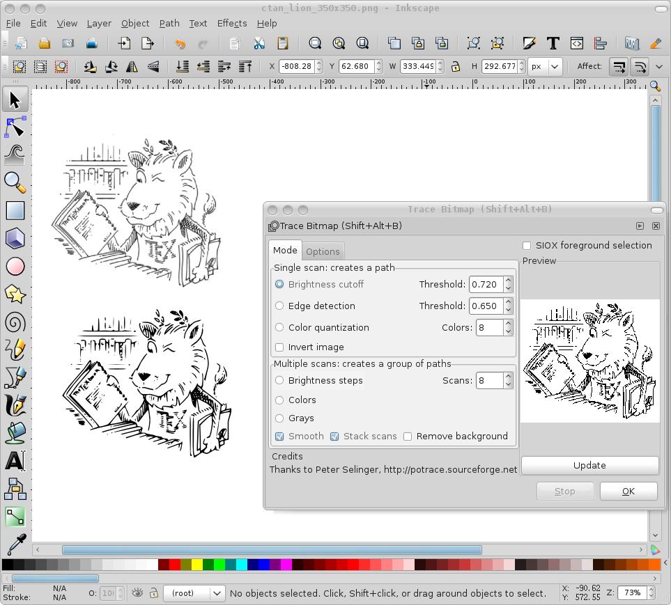 "inkscape 的位图/矢量图转换功能是通过集成一个叫做 Autotrace 的程序来实现的,可以通过 inkscape 的菜单 ""File -> Import"" 将位图导入,然后利用菜单 ""Path -> Trace Bitmap"" 来打开 inkscape 所集成的 Autotrac 程序实现对位图对象的矢量图转换处理,如下图所示。转换方式有多种,比如亮度检测、边缘检测、颜色检测等,其目的无非就是将位图中的图形轮廓识别出来。可以根据自己的需要,"